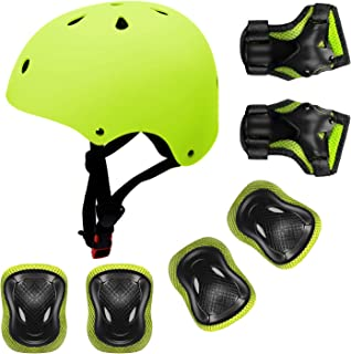 YUFU Kids Helmet 3-13 Years Boys Girls Adjustable Sports Protective Gear Set from Toddler to Youth Helmet Knee Elbow Wrist Pads Cycling Roller Scooter Bicycle Bike Skateboard Accessories Protector