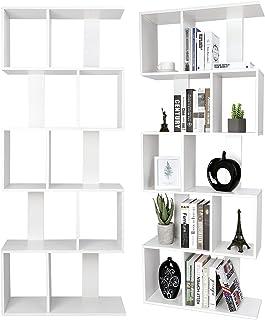 Bibliotheque, Bibliothèque Étagères en Bois Moderne, 5 Niveaux de Meuble de Rangement - Étages de Rangement Forme S pour S...