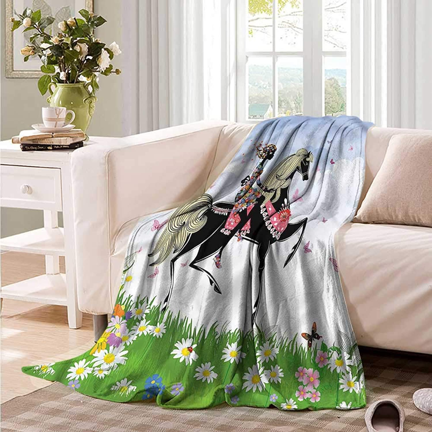 Oncegod Flannel Blanket Horse Girl Riding Pony in Spring Camping Throw,Office wrap 60  W x 51  L