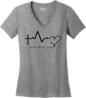 Comical Shirt Ladies Faith Love Hope V-Neck Tee