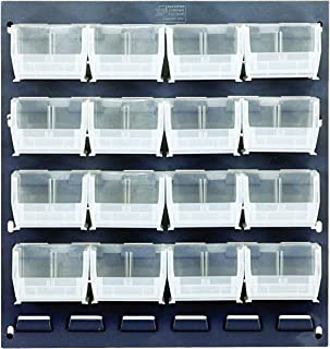 "Quantum Storage QLP-1819-210-16CL Gray Louvered Panels Complete Package with Bins, 18"" L x 19\"" H, Clear"