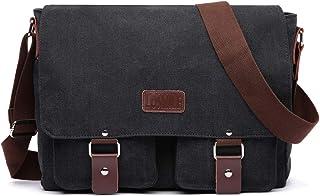 LOSMILE 16 Zoll Herren Schultertasche Umhängetasche Kuriertasche Canvas Vintage Segeltuch Taschen Laptoptasche Messenger Bag Herrentaschen für Schule und Arbeit Schwarz