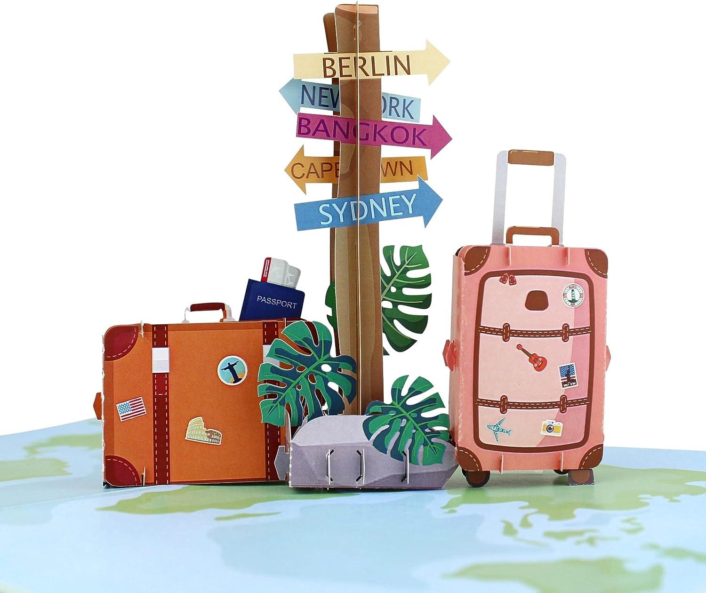 MOKIO® Cupón de viaje Pop-Up– Tarjeta regalo 3D para vacaciones, cumpleaños o despedida – Regalo de dinero de vacaciones, Tarjeta de regalo de viaje, Vale de vacaciones