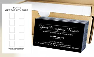 Custom Loyalty Cards 500pcs- Customize (front&back), Two Line Design, Black - Classic matte paper 14pt (114 lbs. 308gsm-Thick Paper) Offset Printing, Made in The USA