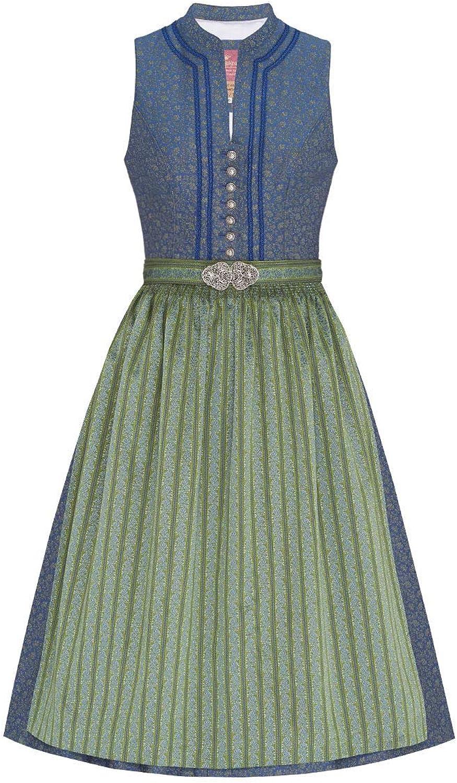 Lieblingsgwand Midi Dirndl Dirndl Dirndl 70er blau grün gestreift Yvonne 007062 - limitiert, Polyester, Rocklänge ca.70cm, hochgeschlossen, mit Knopfleiste, mit Schürzenschließe B07LCRMDSB  Zu einem niedrigeren Preis 8c6ef7