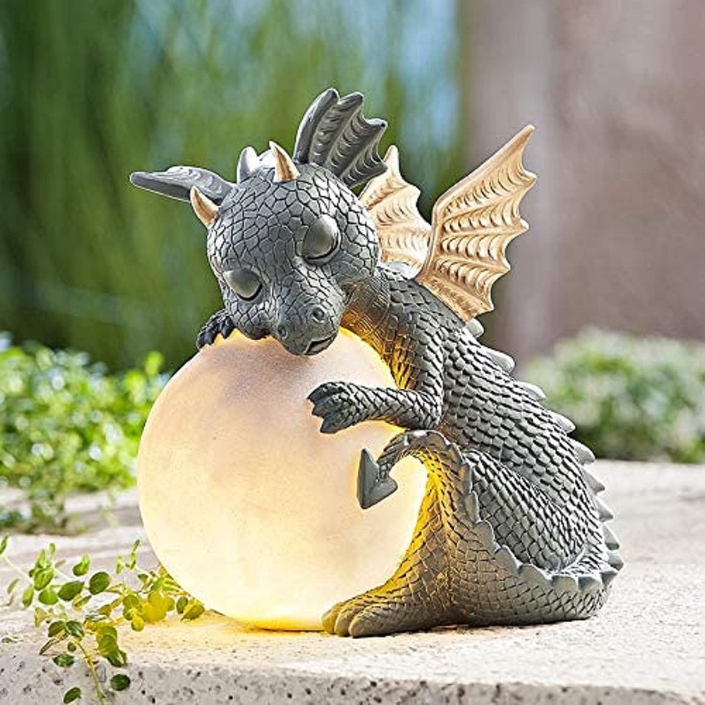 Dragon Statue Garden Figurine Solar Powered LED Lights Outdoor Statues Outdoor Decor,Garden Sculptures,Weather Resistant Garden Statues with Gazing Ball Garden Lights for Patio Lawn Yard Decor
