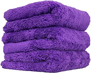 "Chemical Guys MIC35803 Purple 3 Pack Happy Ending Edgeless Microfiber Towel, 16"" x 16"", 3 Pack"
