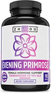 Zhou Nutrition Evening Primrose Oil Capsules- Supports Hormone Balance for Women, PMS & Menopause Support, Cold Pressed & ...