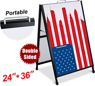 T-SIGN Heavy Duty Portable A-Frame Sidewalk Curb Sign 24 x 36 Inch Slide-in Folding Black Coated Metal Double-Sided, 2 Corrugated Plastic Poster Board