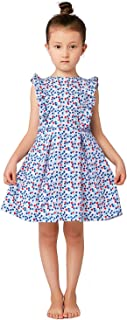 Little Girls Spring Summer French Style Vintage Liberty Print Cotton Dress with Frills 3-12 Years (Go Up One Size)