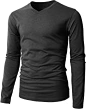 H2H Mens Casual Slim Fit Long Sleeve V-Neck T-Shirts of Various Styles