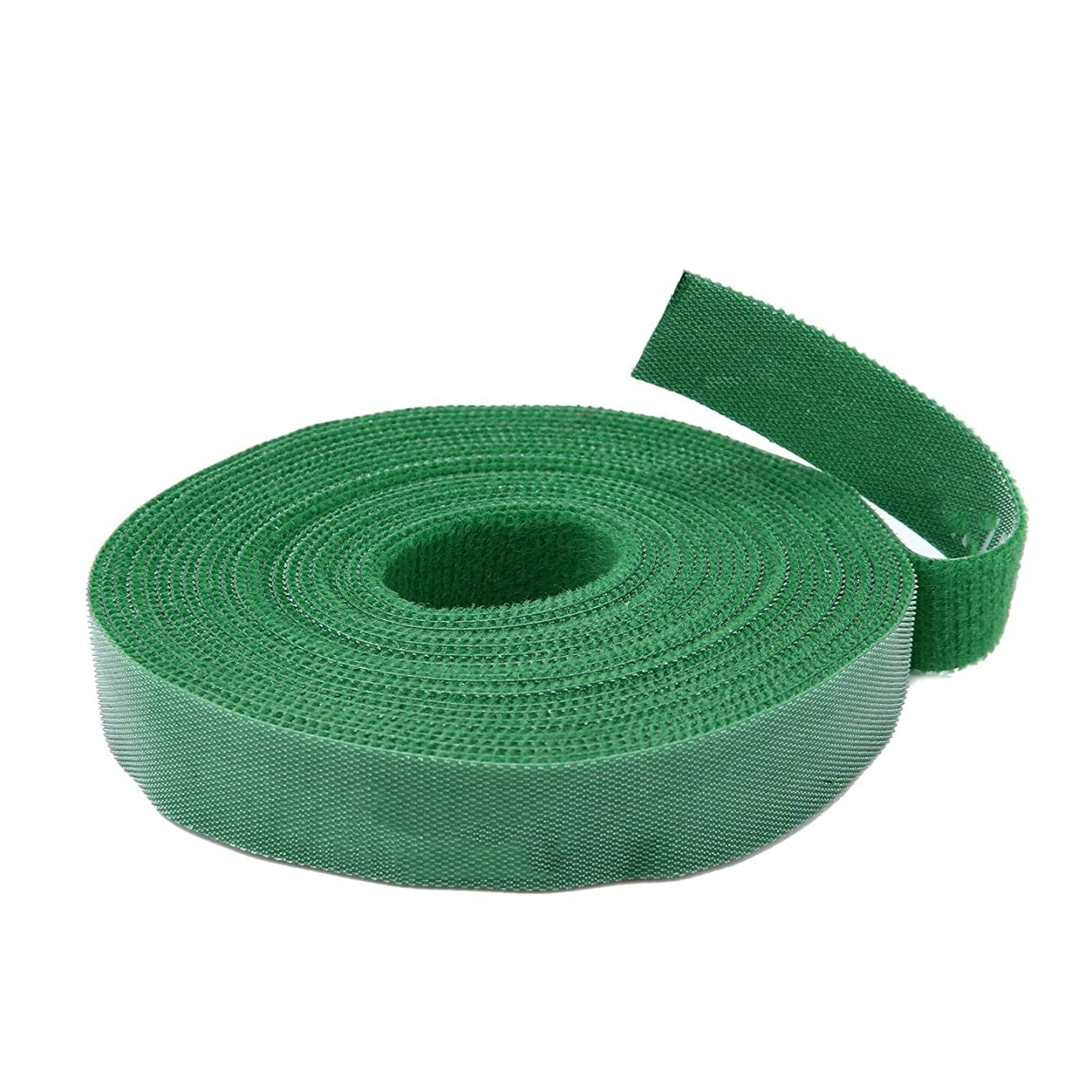 1/2 inch Hook Loop Cable Tie Fasten One Wrap Cord Tape Double Side Nylon Power Cord Management Wire Organizer Straps Reusable Self Gripping 20 Feet 1 Roll (Olive)