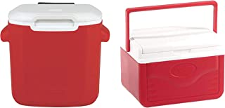 La Rosticceria Coleman 16-Quart Performance Ice Cooler Chest with Wheels, Red Bundle with 5-Quart Ice Cooler Chest, Red