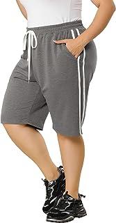 Agnes Orinda Plus Size Shorts Pant for Women Jogger Pockets Drawstring Color Long Sweatpant Short Pants Womens Day