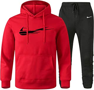 Tracksuits for men warm hooded jogging track suits brand printed 2 pieces man sweatsuit set