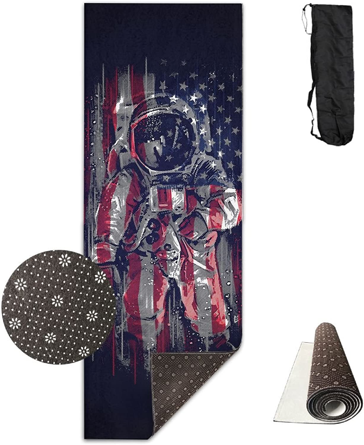 Gym Mat Astronaut Flag Fitness High Density AntiTear Exercise Yoga Mat With Carrying Bag For Exercise,Pilates