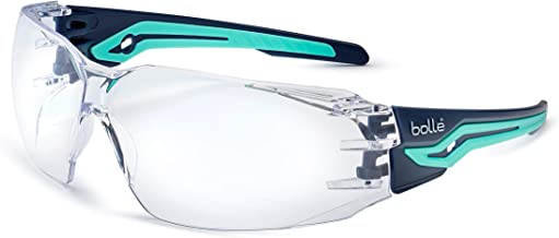 Bollé Safety SILEXPSI, Silex Safety Glasses Anti-Scratch/Anti-Fog, Black Blue Frame, Clear Lenses, Black & Blue, Universal
