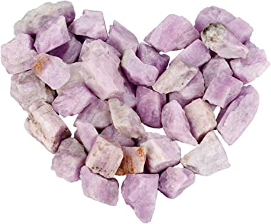 mookaitedecor 1 lb Bulk Natural Kunzite Raw Crystals Rough Stones for Tumbling,Cabbing,Polishing,Wire Wrapping,Wicca & Reiki