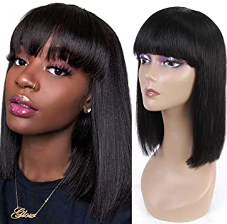 Human Hair Wigs with Bangs Brazilian Straight Short BoB Wigs None Lace Front Wigs Human Hair Glueless Machine Made Bob Wigs for Black Women Natural Black Color 12 Inch