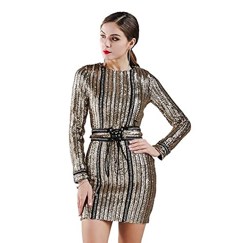 Missord Women O-Neck Long Sleeve Sequin Belt Rope Party Dress
