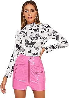 SweatyRocks Women's Long Sleeve Snakeskin Print High Neck Slim Fit T Shirt Top