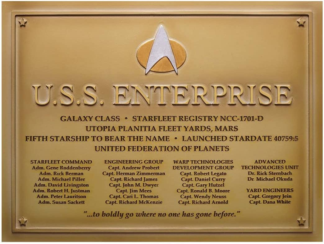 Star Trek U.S.S. Superior Enterprise-D #4 Dedication Plaque Bargain