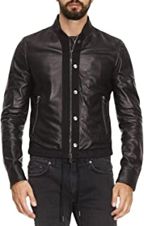 Black Gold Lasy Mens Leather Jacket Black Size 52