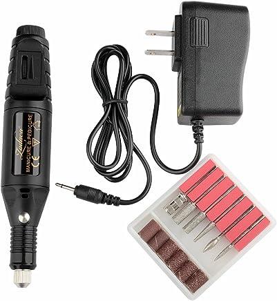 Zodaca Electric Nail Art Drill 6-Bits Set Pen Shape Manicure Pedicure Tools Machine, Black