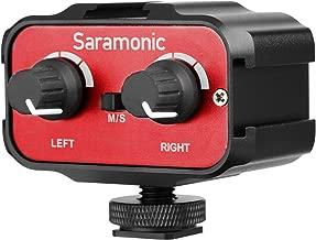 Saramonic SR-AX100 universal adaptador de audio audiomischer Combinador de micrófono con estéreo mono de canal doble para DSLR y videocámara 3.5 mm pequeño Jack para Cámaras DSLR y videocámaras