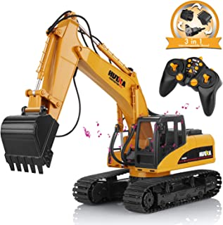 AOKESI 16 Channel Full Functional Remote Control Excavator Construction, Excavator Digger Toy with 2.4Ghz Transmitter , 1:14 Scale Excavator Truck with Sound&Light,Extra Claw & Shovel in Excavator Toy