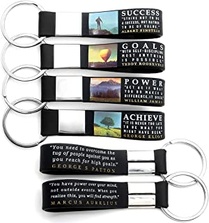 (12-pack) Motivational Quote Keychains - Success, Achieve, Goals, Power - Wholesale Bulk Corporate Key Chains for Christmas Graduation Appreciation Company Business Gifts for Staff Employees Men Women