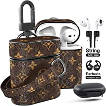 Jansae Leather Case Compatible with Airpods Case with 6.3in Wristlet Strap Keychain, Luxurious Designer Cases Kits Compatible for Airpod Case 1st / 2nd Cover (Brown-Flower)