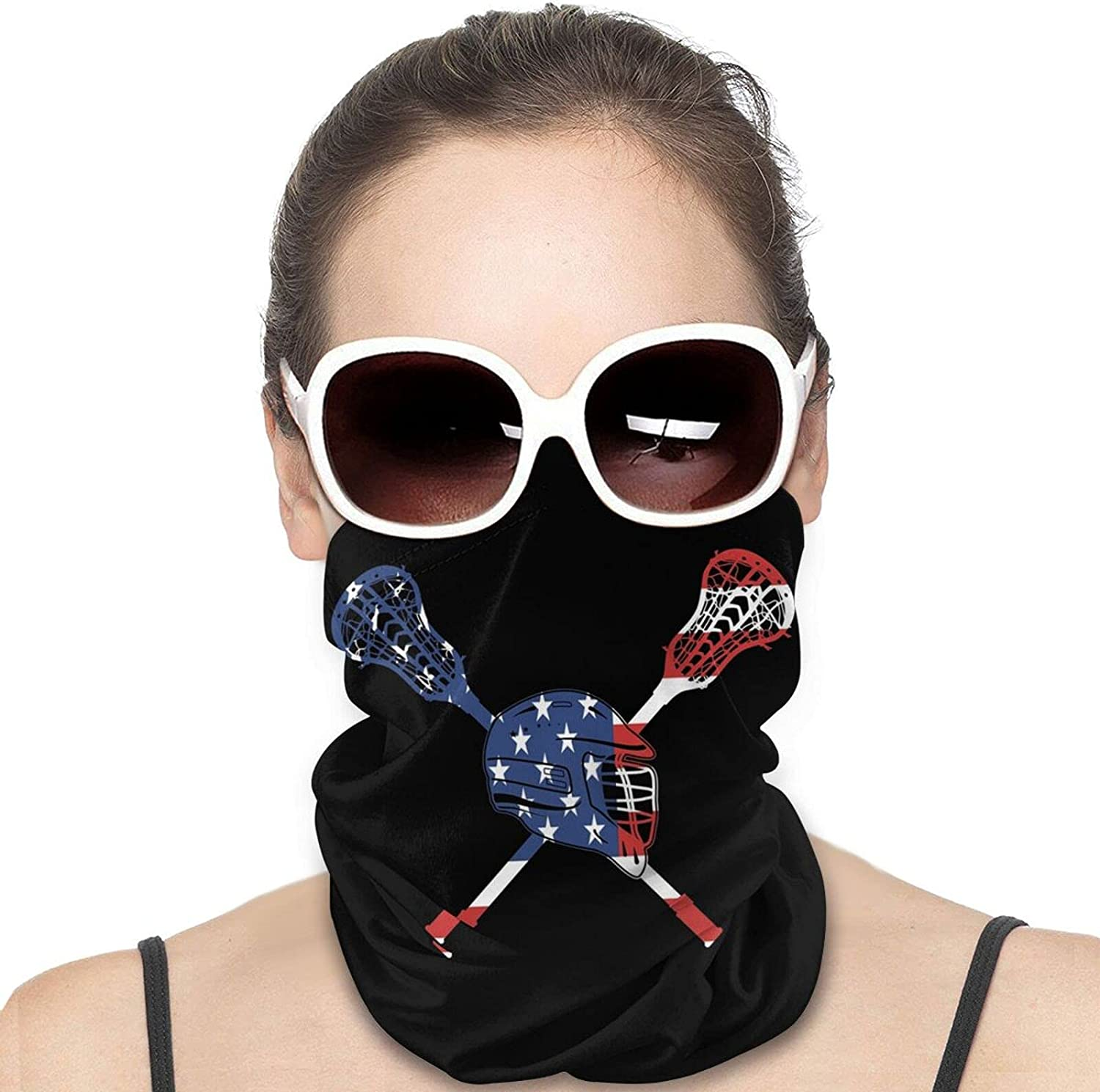 Lacrosse American Flag Round Neck Gaiter Bandnas Face Cover Uv Protection Prevent bask in Ice Scarf Headbands Perfect for Motorcycle Cycling Running Festival Raves Outdoors