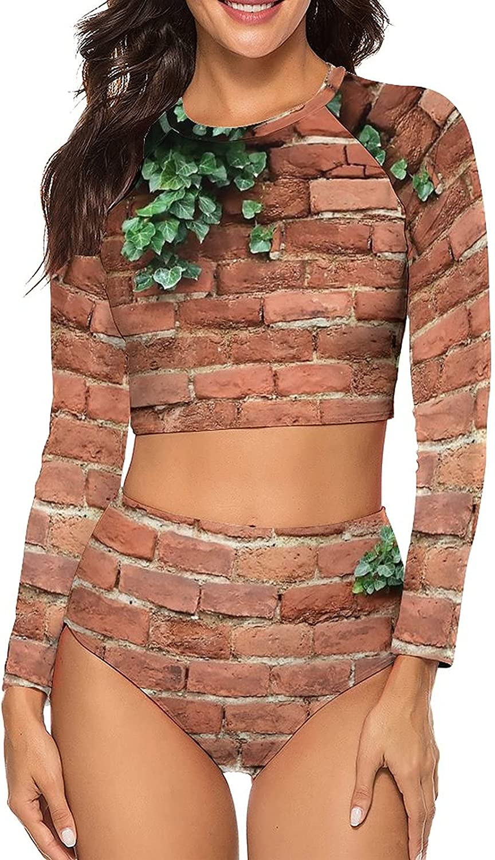Tvsuh-u Womens Bathing Suit 2 PCS Green Plant Brick Wall Long Sleeve Rash Guard Swimsuits High Waist Swimming Suit
