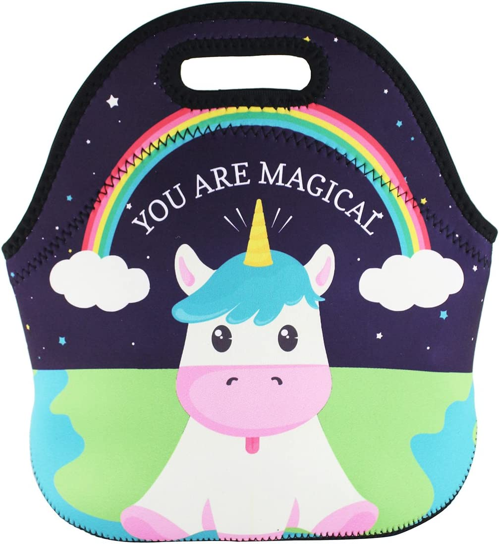 Topics on TV Violet Mist Neoprene Unicorn Lunch Bag Insulated Waterpr Limited time trial price Rainbow