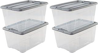Amazon Basics 103439 Lot de 4 Boîtes de Rangement empilables-New Top Box NTB-45, Plastique, Transparent/Gris, 45 L