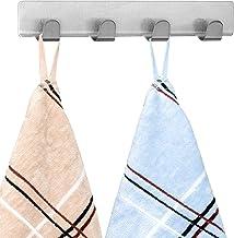 Tatkraft Fyra Set van 2 viervoudige roestvrijstalen zelfklevende handdoekhouders, ideale hanger voor handdoek en badjas, z...