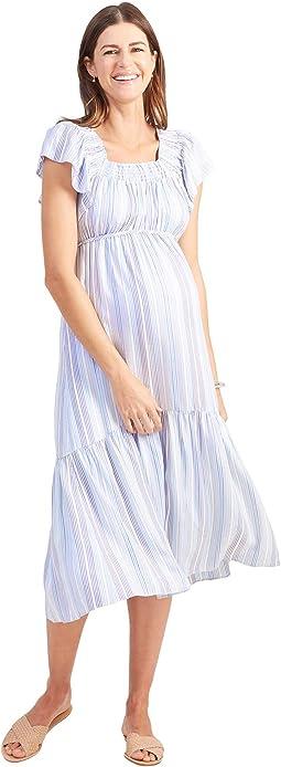 Maternity Flutter Sleeve Tiered Dress