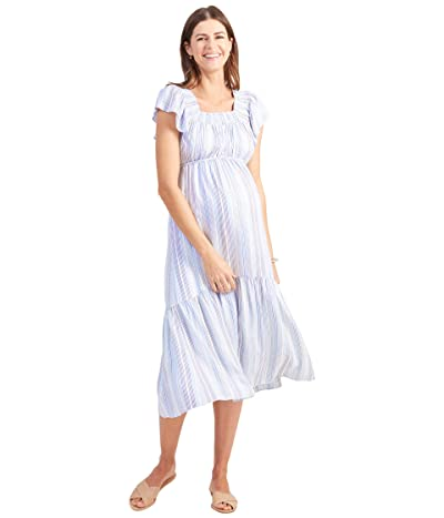 Ingrid & Isabel Maternity Flutter Sleeve Tiered Dress (Blue Multi Stripe) Women