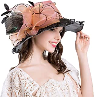 YiyiLai Feather Organza Flower Folding Church Headwear Elegant Derby Sun Hat