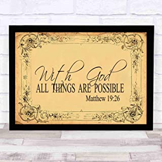 cupGTR :) Bible Wall Art—Perfect Christian Gift - with Frame - Size14x13in -Matthew 1926, with God All Things are Possible, Christ, Miracles, Wonder Signs