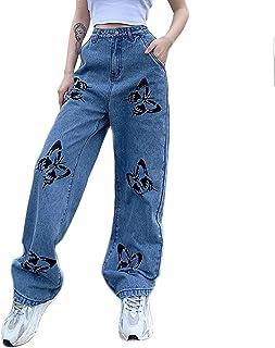 Ladies Straight Leg Jeans Fashion Skateboard Pants Cool Hip-Hop Baggy Denim Loose Trousers Outdoor Cargo Sweatpants