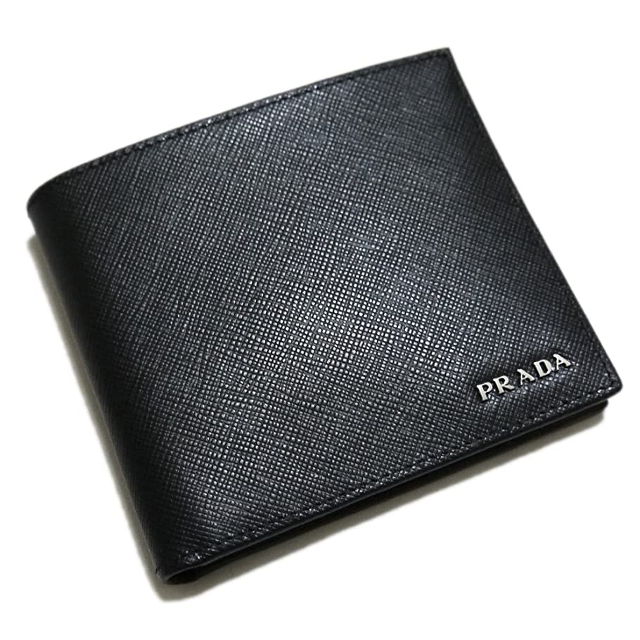 裏切り者着替えるデコラティブ[プラダ] PRADA メンズ サフィアーノレザー 二つ折り財布 コインケース付 黒×グレー 2M0738 PRADA [並行輸入品]