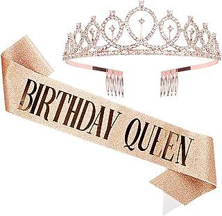 CANITOR Birthday Sash & Rhinestone Tiara Set Birthday Sash Birthday Crown Queen Crown Birthday Party Favors Glitter Birthd...