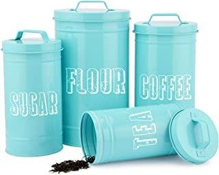 FEULAM Canister Sets For Kitchen Counter, Airtight Coffee Canisters, Containers For Flour And Sugar Storage, Farmhouse Tea...