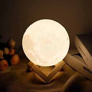 Moon lamp - Lampwin 5.9 Inch USB Rechargeable Dimmable LED 3D Full Moon Light Lantern, Touch Switch Warm/Cool White Cresce...
