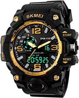Skmei Analog-Digital Black Dial Men's Watch - 1155 Gold