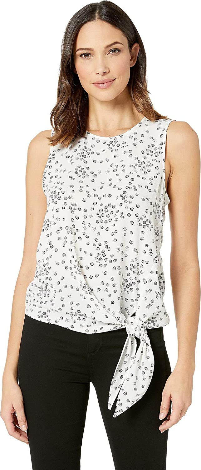 Vince Camuto Women's Sleeveless Ditsy Showers Tie Front Blouse