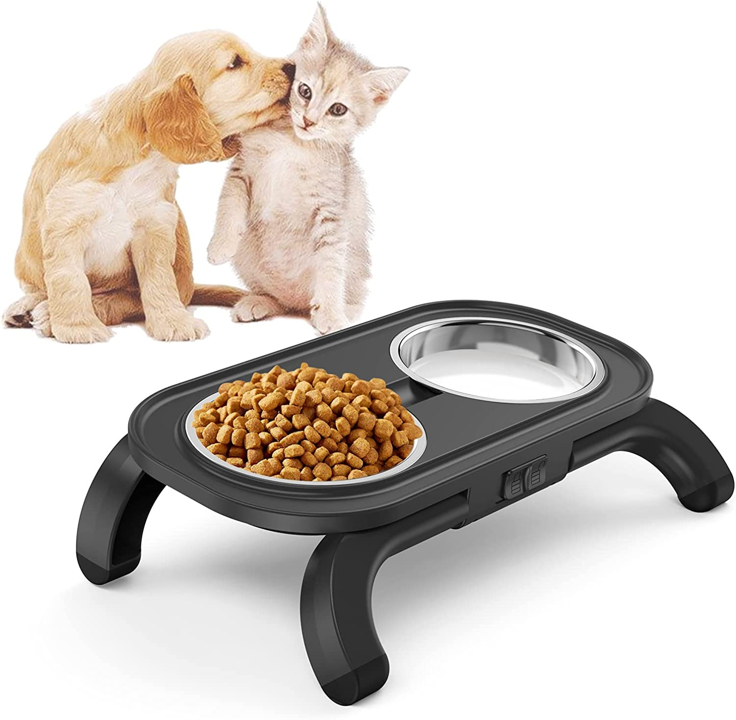 Elevated Cat Bowls, Adjustable Raised Food Feeding Bowl for Cats and Small Dogs, 1.5 L Stainless Steel Dog Dishes with Non-Slip Stand