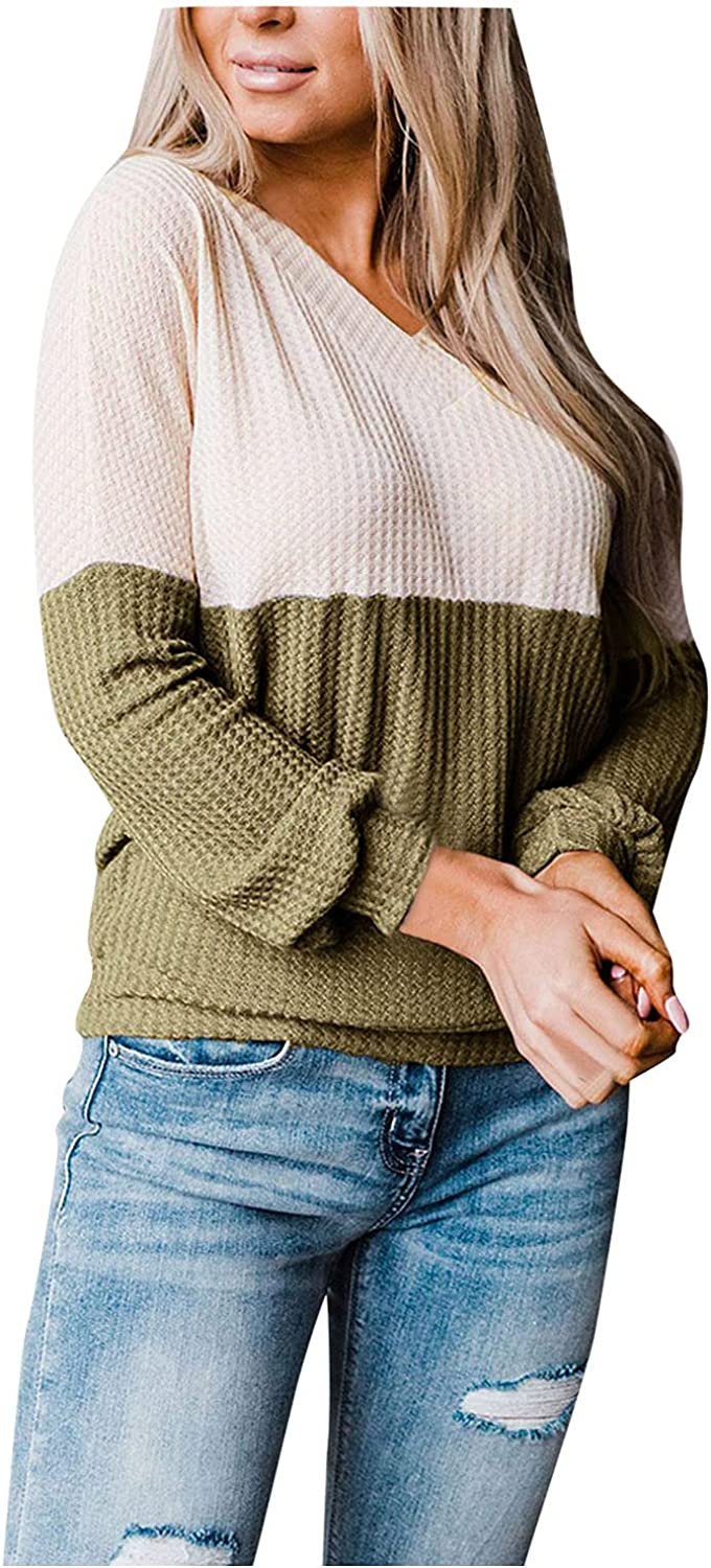 Women's Color Block Patchwork Sweater Waffle Cuffed Sleeves V Neck Knitwear Pullover Jumper Tops by Pocciol